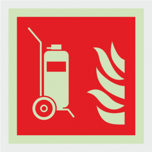Fire Fighting Equipment Wheeled Extinguisher Safety Sign image