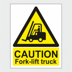 Hazard Warning Caution Fork lift Truck Sign image