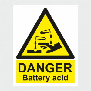 Hazard Warning Danger Battery Acid Sign image