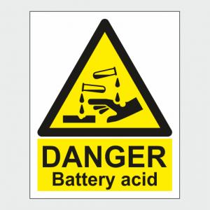 Hazard Warning Danger Battery Acid Sign image