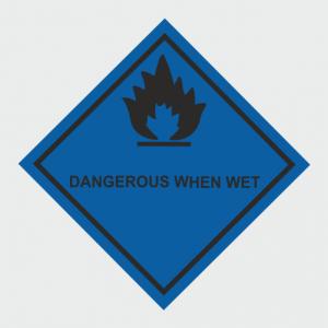 Hazardous Chemical Dangerous When Wet Sign