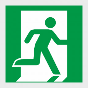 Low Location Lighting Running Man Exit Right Safety Sign image