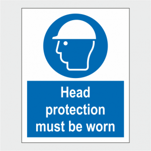 Mandatory Head Protection Must Be Worn Sign image