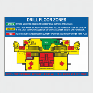 Operational, Informational and Bespoke Boards. Drill floor zones board.