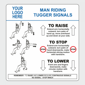 Operational, Informational and Bespoke Boards. Man riding tugger signals board.